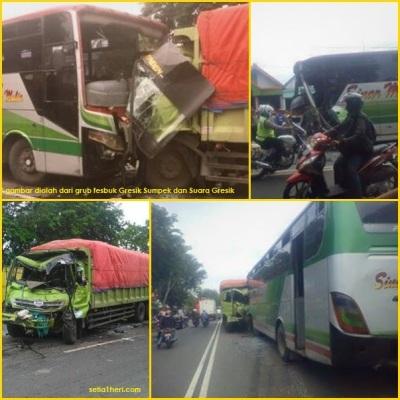 aksi tabrakan bus sinar mandiri dan truk fuso angkut pupuk di tebalo gresik 20 januari 2014