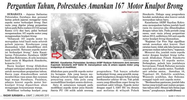 hasil razia knalpot brong selama malam tahun baru 2015 di Kota Surabaya