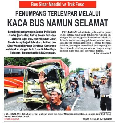 kecelakaan bus sinar mandiri dan truk fuso di gresik tanggal 20 januari 2015