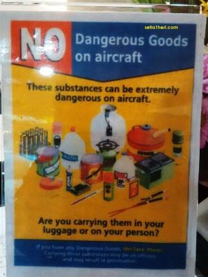 larangan membawa barang-barang berbahaya di pesawat