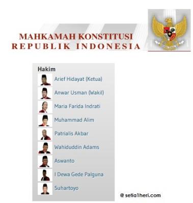 nama ketua MK dan hakim konstitusi 2015-2017