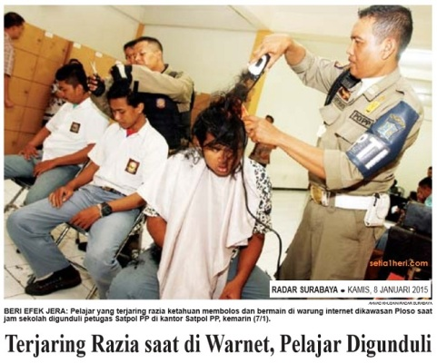 razia warnet saat jam sekolah pelajar di surabaya di gunduli satpol pp 2015