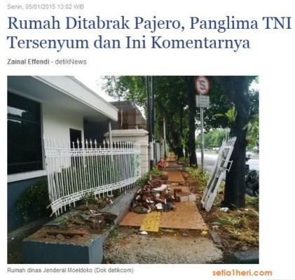 rumah dinas panglima TNI ditabrak pajero